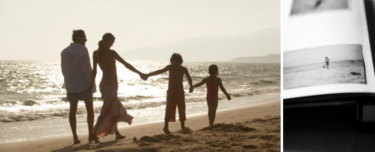 Happy family on beach by professional photographer on board